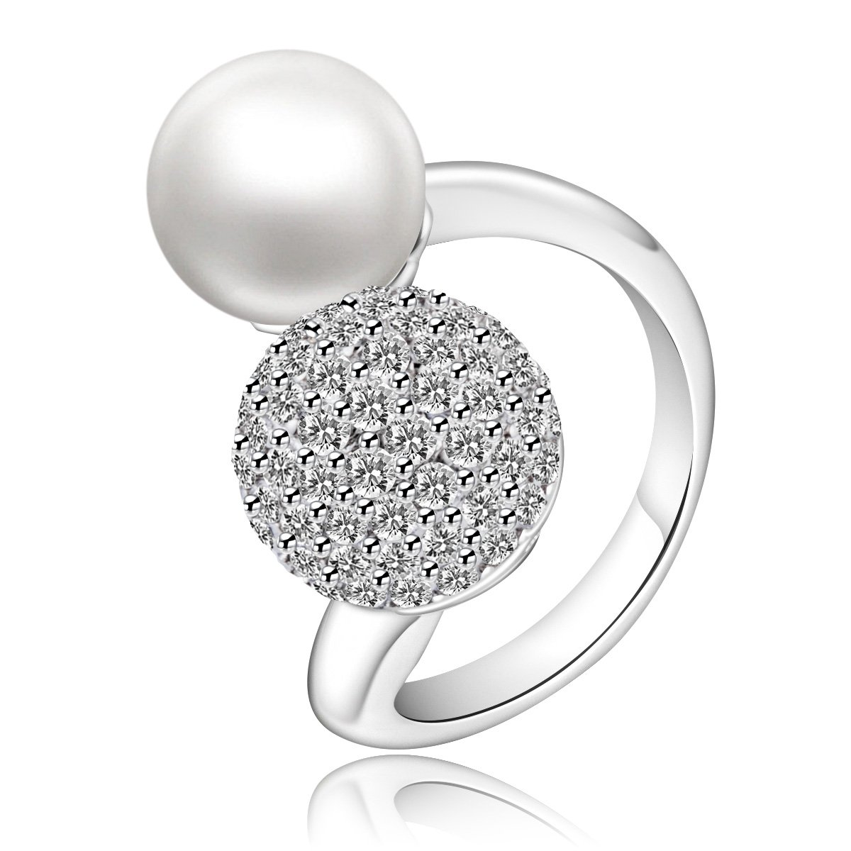 Faenlior Women Fashion Jewelry Platinum Plated Sterling Silver Rhinestone Crystal Ball Pearl Adjustable Open Rings (7)
