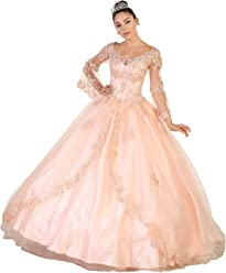 7e85001d993 Formal Dress Shops FDS100 Bell Sleeves Quinceanera Ball Classy Gown