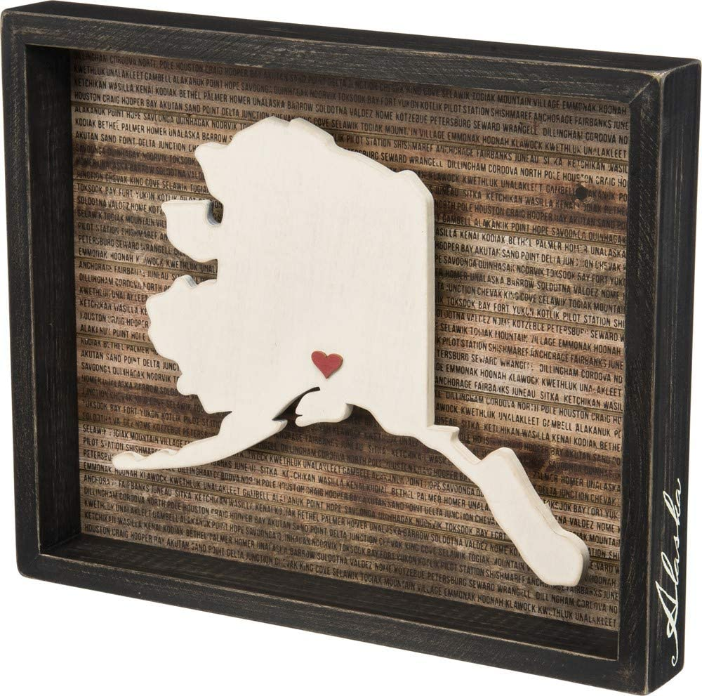 "Primitives by Kathy State Pride Box Sign, 15"" x 12.25"", Alaska"