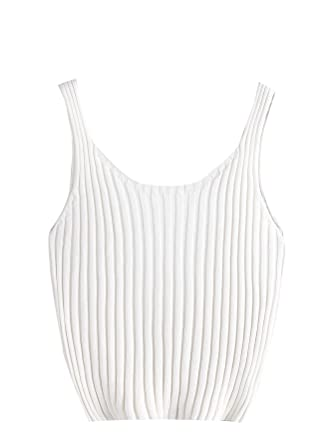 SweatyRocks Womens Ribbed Knit Crop Tank Top Spaghetti Strap Camisole Vest Tops