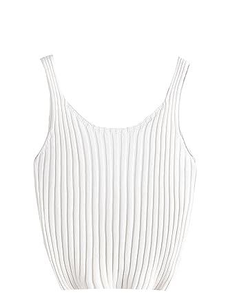 64ad3ea98b SweatyRocks Women s Ribbed Knit Crop Tank Top Spaghetti Strap Camisole Vest Tops  White One Size