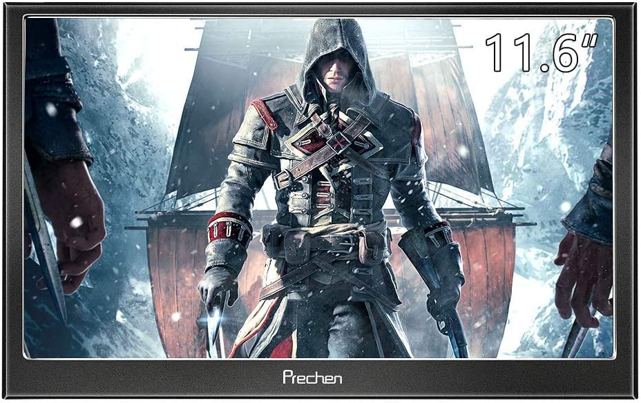 Prechen,11.6 inch 1920x1080(Support 1080p) Portable Monitor HDMI for PS3 PS4 WiiU Xbox360 Raspberry Pi 3 2 1 Windows 7 8 10 System Home Office,Build in Speaker(Black)