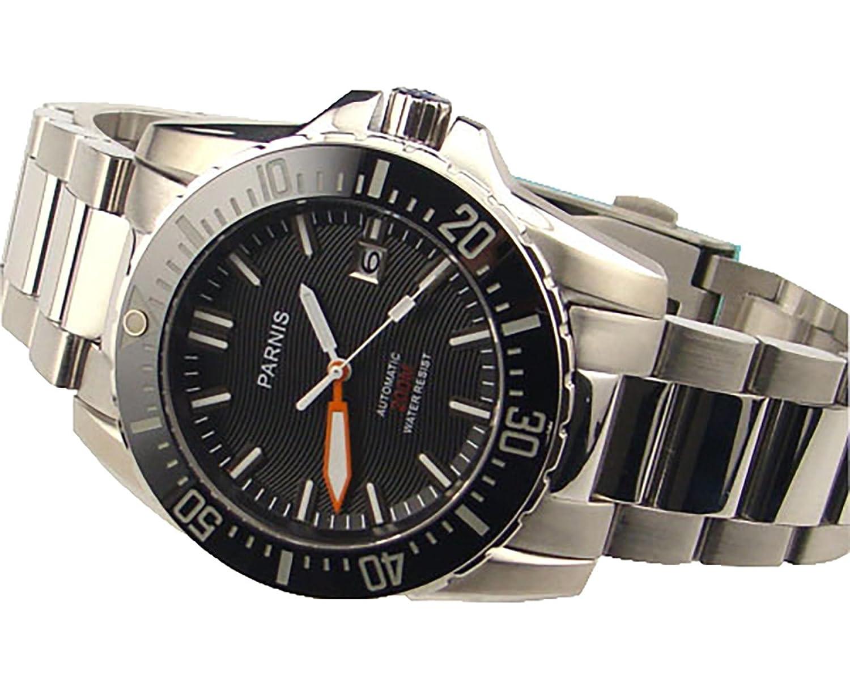 Parnis 43 mmブラックダイヤル自動20 ATMセラミックベゼルサファイアガラス腕時計992 B01J9EAU4I