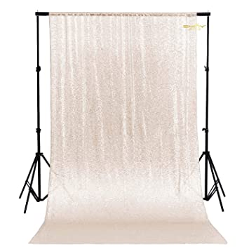 Wedding Backdrops Fabric Backdrops ShinyBeauty Sequin Curtain-Backdrop 6FTx6FT-White-Sequin Curtains