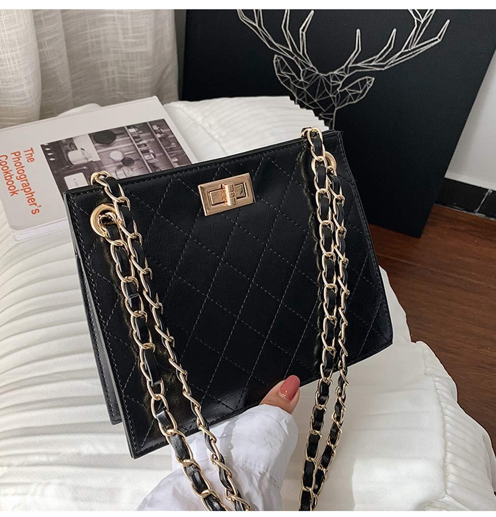 Color : Black, Size : 2122188cm OUSHINA Senior Sense Handbag New 2019 Foreign Gas Chain Summer Small Fresh Messenger Bag Wild Ins