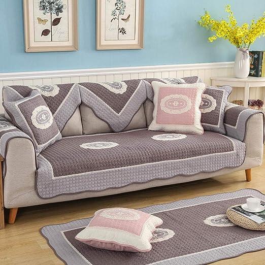 TAYIBO Funda Sofa 3 plazas Cubre,Cuatro Estaciones de algodón Universal, cojín de sofá Acolchado, Funda de sofá de Tres Asientos-_Brown Coffee_110 * 160: Amazon.es: Hogar