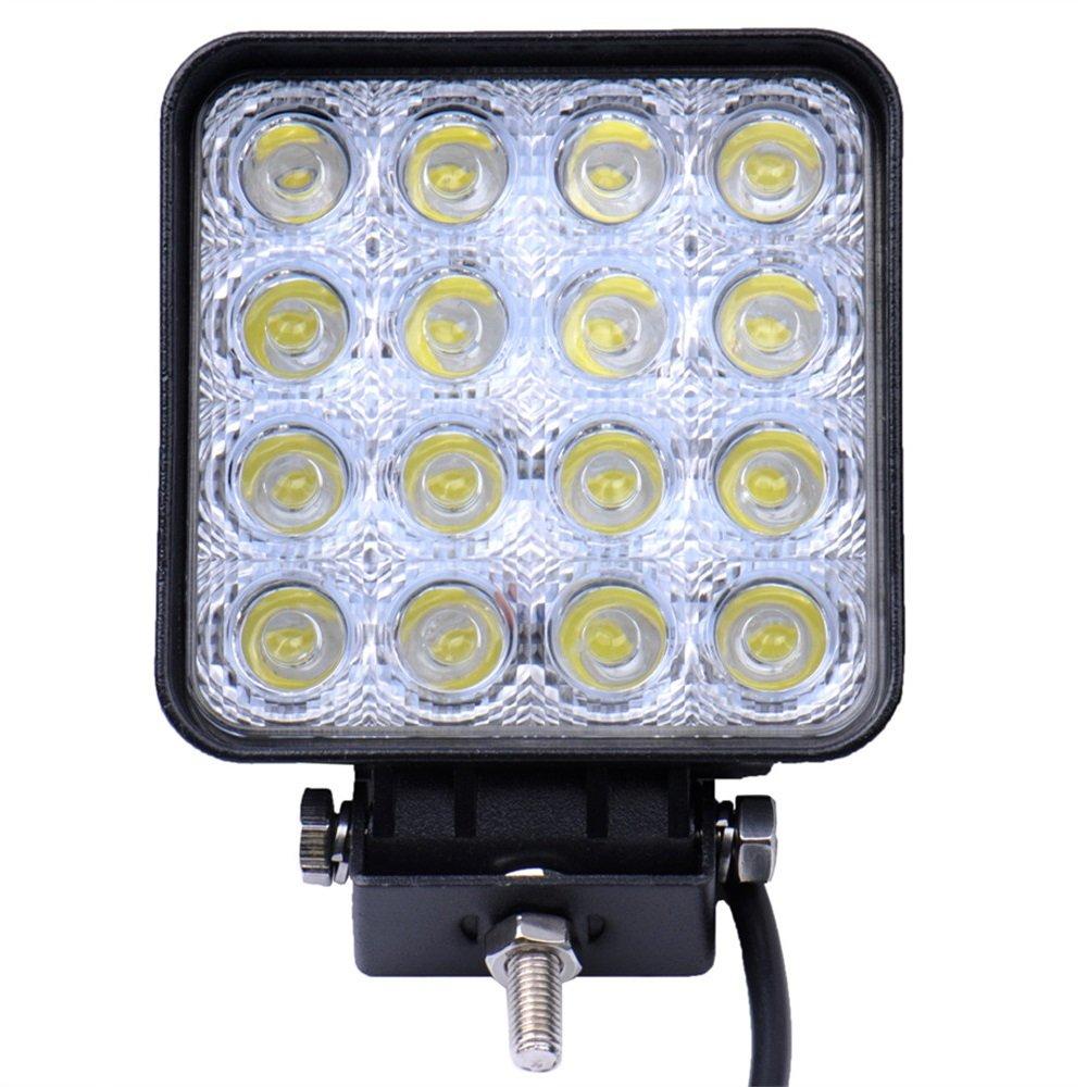 Viugreum® 48W LED Phare de Travail Feux de Jour Auto Etanche DRL Haute Luminosité 9600LM Eclairage Diurne Lampe Avant Rond Conduite de Sécurité pour Jeep Camion Tout-Terrain - Blanc Froid