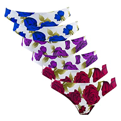 67db2d57950 Dalala 6 Pack Women's Thong Panties Lady G-String Underwear, Nylon Spandex  Rose Floral or Leopard Print (Free Size, Rose Floral): Amazon.co.uk:  Clothing