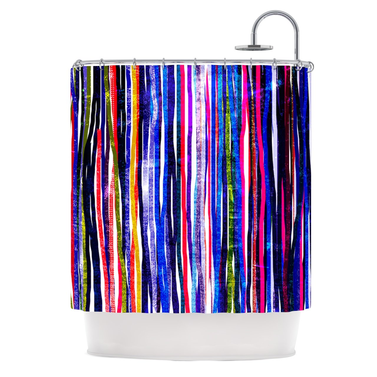 Kess InHouse Frederic Levy-Hadida Fancy Stripes Purple 69 x 70 Shower Curtain