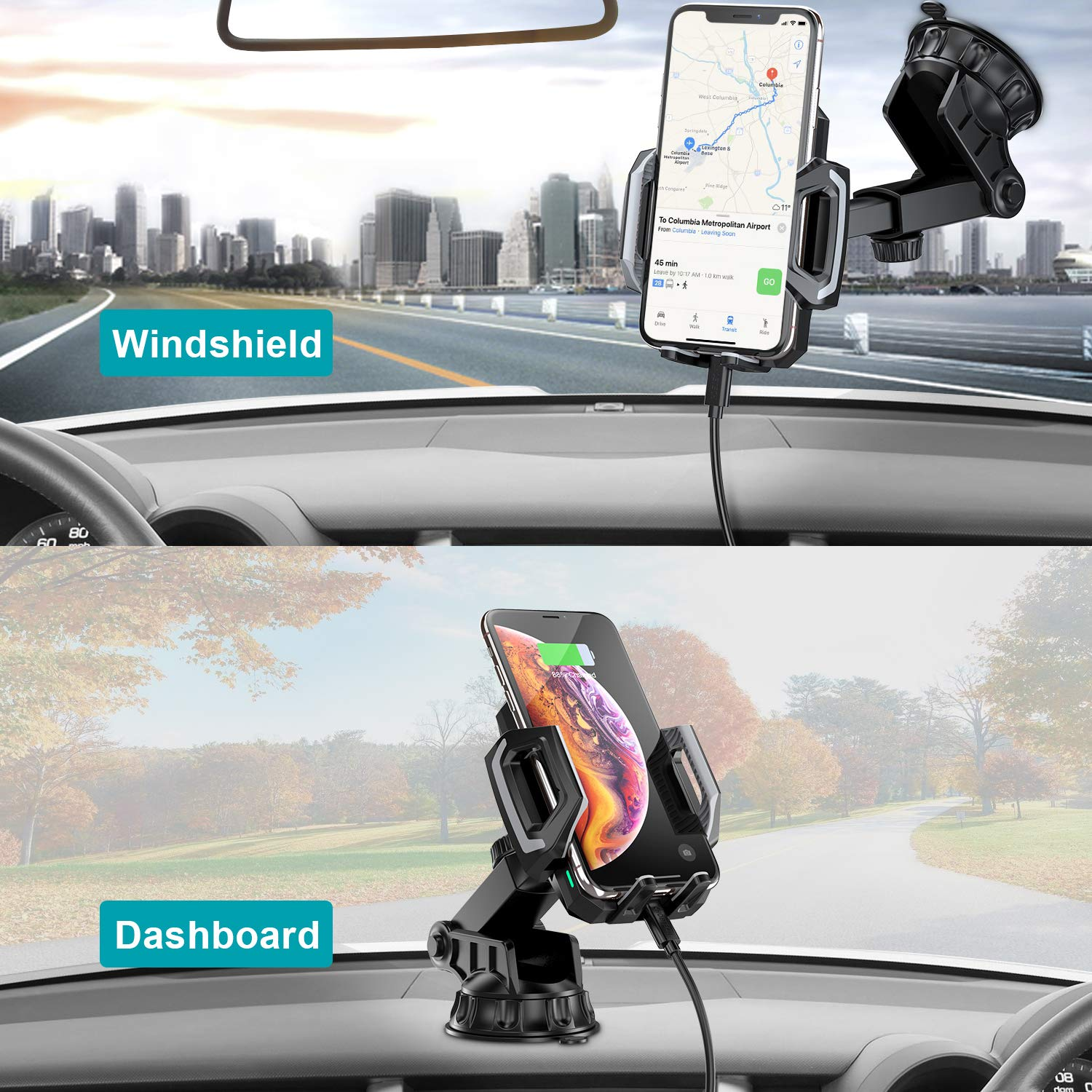 CHOETECH Wireless Car Charger Fast Wireless Car Charger Holder with Strong Suction 7.5W Compatible with iPhone XR//XS//XS Max//X//8//8 Plus,10W for Galaxy Note 9//S10//S9//S9+,S8//S8+//Note 8 5W for Huawei Mate 20 pro Upgraded