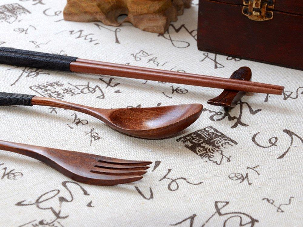 Japanese Tableware,Lovewe Japanese Vintage Wooden Chopsticks Spoon Fork Tableware 3pcs Set New Gift by Lovewe_Kitchen Tool (Image #2)