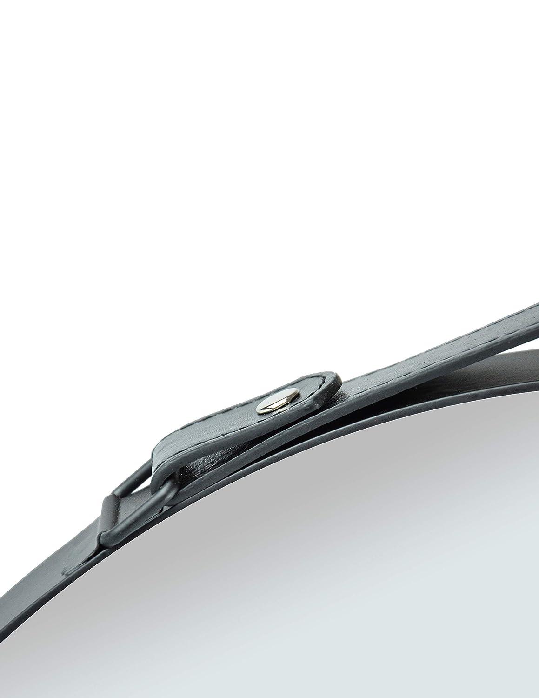 FALC Rundspiegel mit Metallrahmen und Lederkoppel 40x40 cm