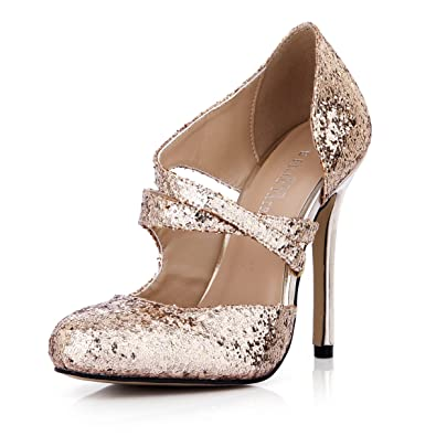 b88cb8035e6a DolphinGirl Women Fashion Glitter Gold Pointy Toe 12CM High Heels Twinkle  Dress Pumps Blink Stiletto Shoes