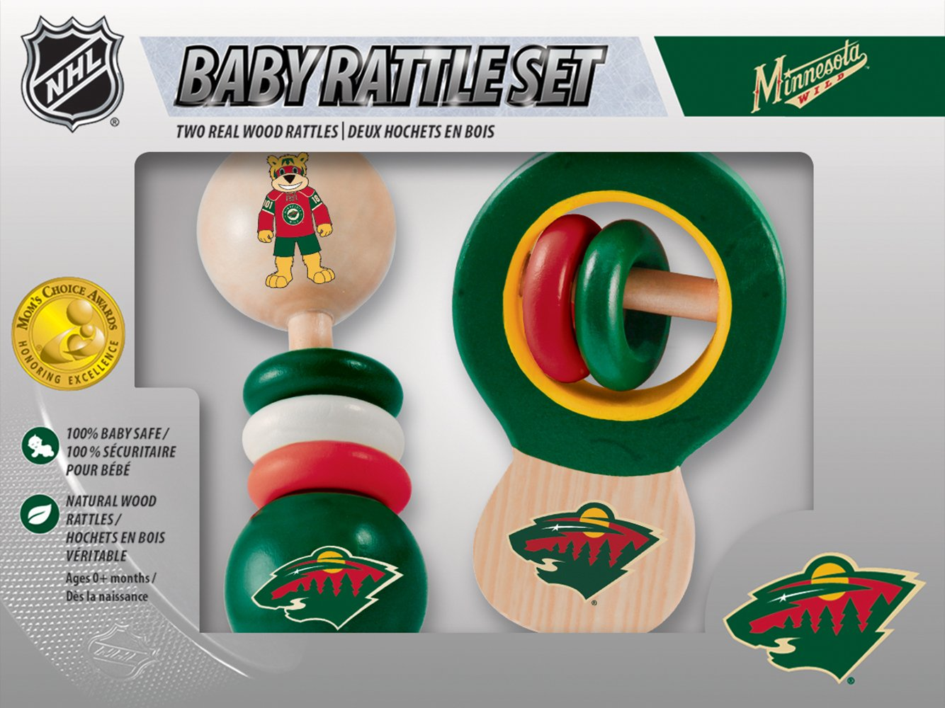 2-Pack MasterPieces NHL Real Wood Baby Rattles