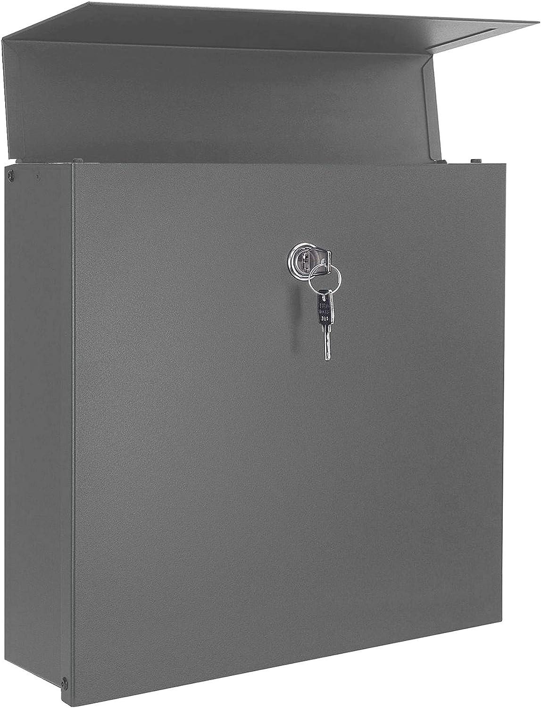 RAL 7012 hochwertiger Wand-Postkasten wetterfest rostfrei modern MOCAVI Box 570 Design-Briefkasten basaltgrau