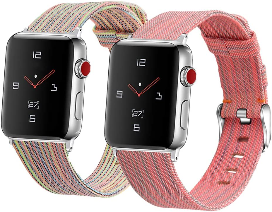2-Pack Canvas Bands Compatible with Apple Watch Band 42mm 44mm, Fabric Replacement Strap Compatible with iWatch Series 6 5 4 3 2 1 SE Sport, Multicolor