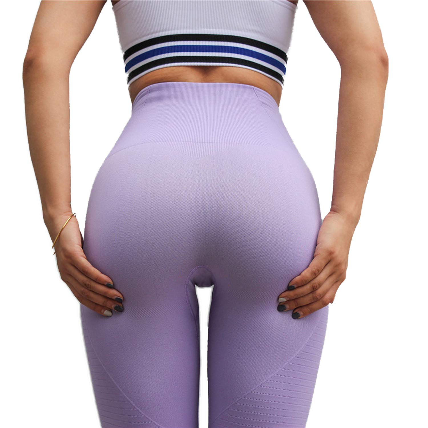 4 Light Purple RIOJOY Yoga Pants for Women Hollow Out Elastic Waist Tummy Control Stretchy Pants Fitness Leggings Gym Compression Sports Tights