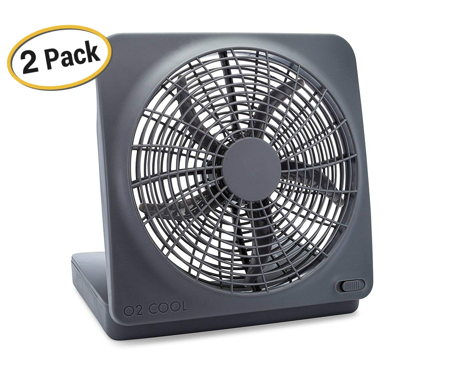 O2COOL 10-Inch Portable Desktop Air Circulation Battery Fan - 2 Speed - Compact Folding & Tilt Design - With AC Adapter, 2 Pack