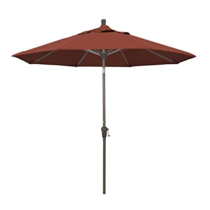 Magnificent California Umbrella 9 Round Aluminum Market Umbrella Crank Lift Auto Tilt Champagne Pole Sunbrella Terracotta Gmtry Best Dining Table And Chair Ideas Images Gmtryco