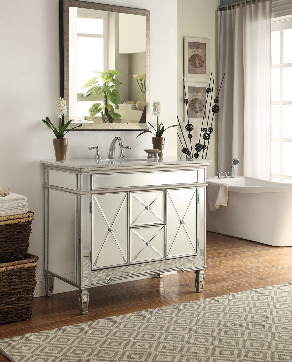 40  All mirrored reflection Adelia Bathroom sink vanity Model DH 13Q322      Amazon com40  All mirrored reflection Adelia Bathroom sink vanity Model DH  . Mirrored Bathroom Vanity With Sink. Home Design Ideas