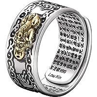 Heshan Feng Shui Pixiu Mani Mantra skydd rikedom ring amulett rikedom tur öppen justerbar ring buddhistiska smyckesring