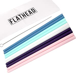 Flathead Reusable Silicone Drinking Straws Straight (set of 10) - 20oz tumbler compatible - Comes with cleaning brush
