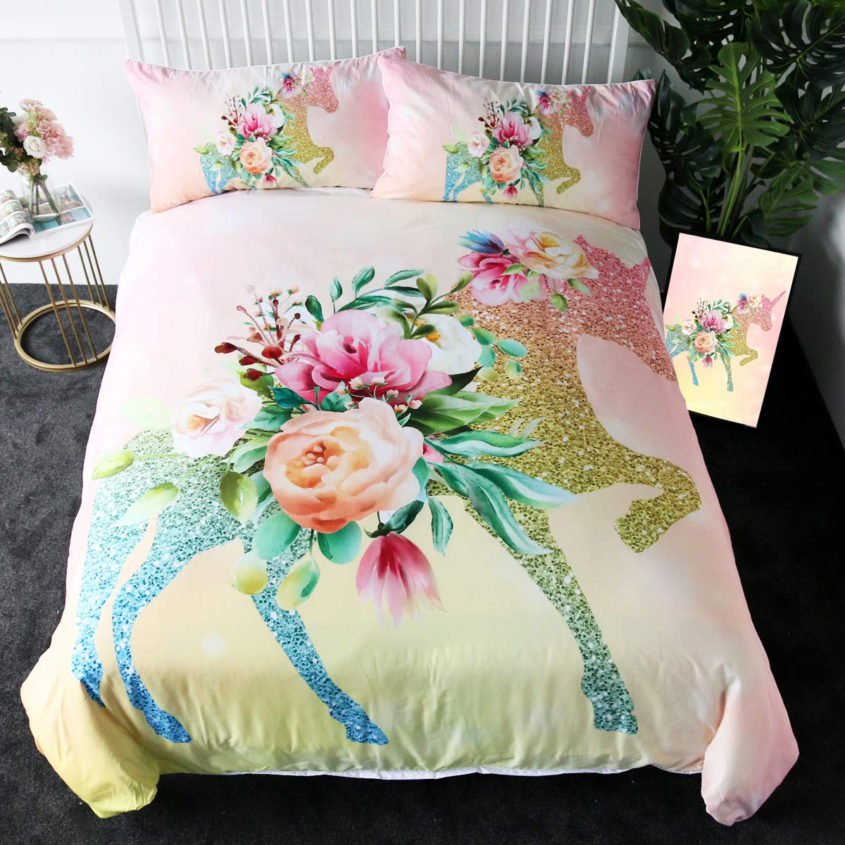 Sleepwish Glitter Unicorn Bedding Girl Trendy Pink Rose Duvet Cover Twin 3 Pieces Kids Magical Horse Pretty Bed Sets