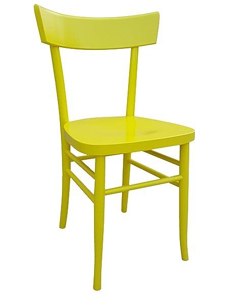 Sedie In Legno Colorate Per Cucina.Okaffarefatto Maddaloni Sedia In Legno Nuova Gia Montata Modello Milano Vintage Giallo 1026