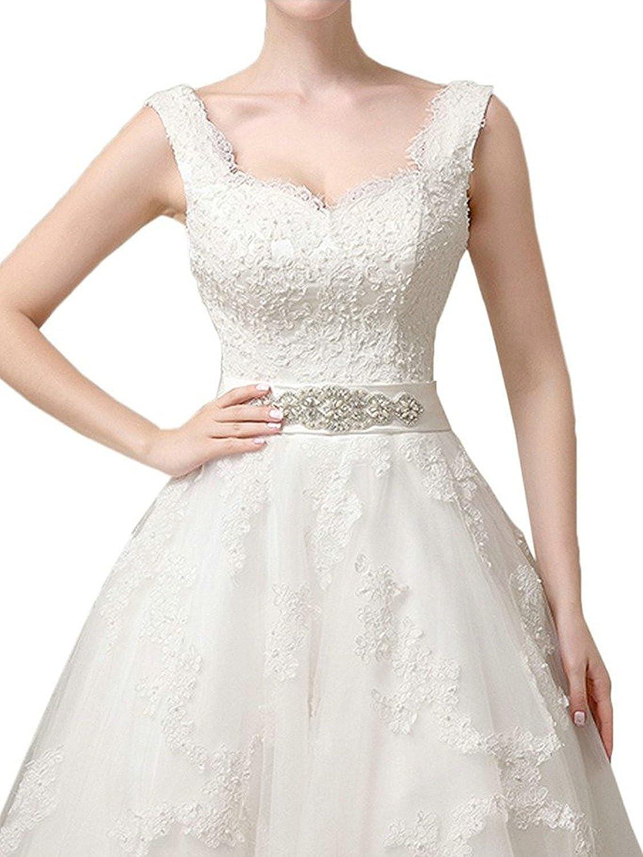 Brautkleid Hochzeitskleider Vintage Prinzessin Kurz Brautmode T/üll Spitze A Linie