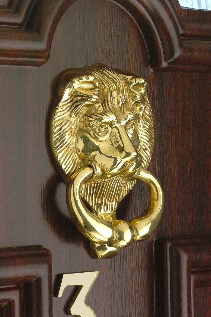 Solid Brass Lion's Head Door Knocker - Traditional Regal Style Black Country Metal Works