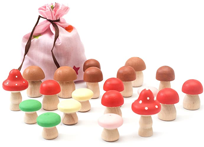 Pretend Play Food For Kids   20 Pc Wooden Mushrooms In A Bag Set   Play