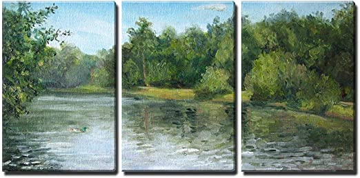 Amazon Com Wall26 3 Piece Canvas Wall Art Summer Landscape With Trees And Bushes Oil Painting Modern Home Art Stretched And Framed Ready To Hang 24 X36 X3 Panels Posters Prints