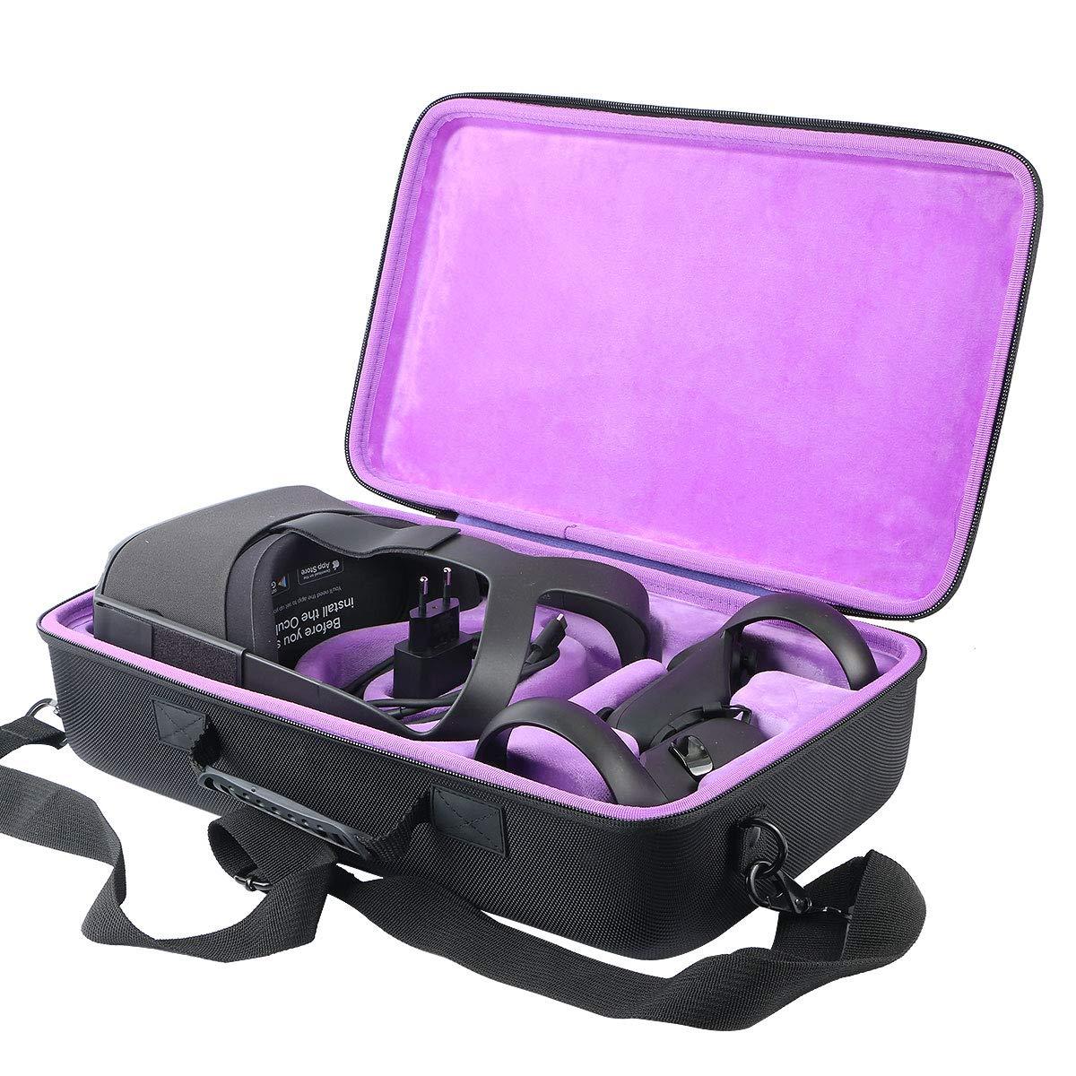 khanka Hard Travel Case for Oculus Quest 2/2020 Edition 3D VR Gaming Headset (Inside Purple)
