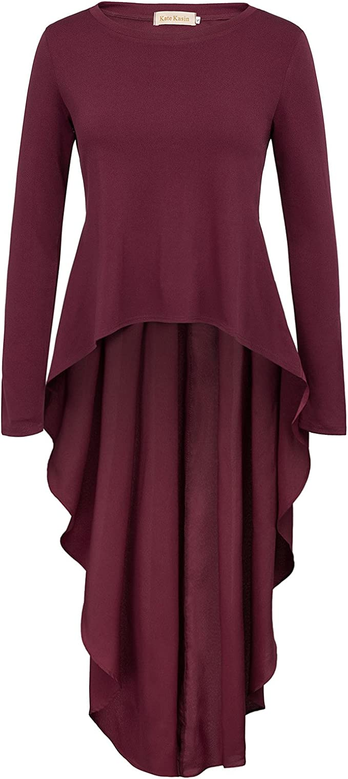 L, AF1014-Black Kate Kasin Womens Solid Long Sleeve High Low Casual Long Tunic Tops Shirts