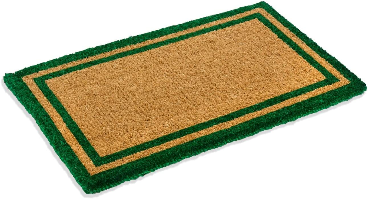 """Natural Coco Coir Outdoor Doormats with Green Border Keep Your House/Office Clean - Welcome Guests with Outdoor Heavy Duty Doormats 22"""" X 36"""""""