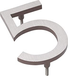 "product image for Montague Metal Products MHN-04-5-F-SD2 Solid Brushed Aluminum Modern Floating Address House Numbers, 4"", Satin Nickel Powder Coated Sand Two-Tone"