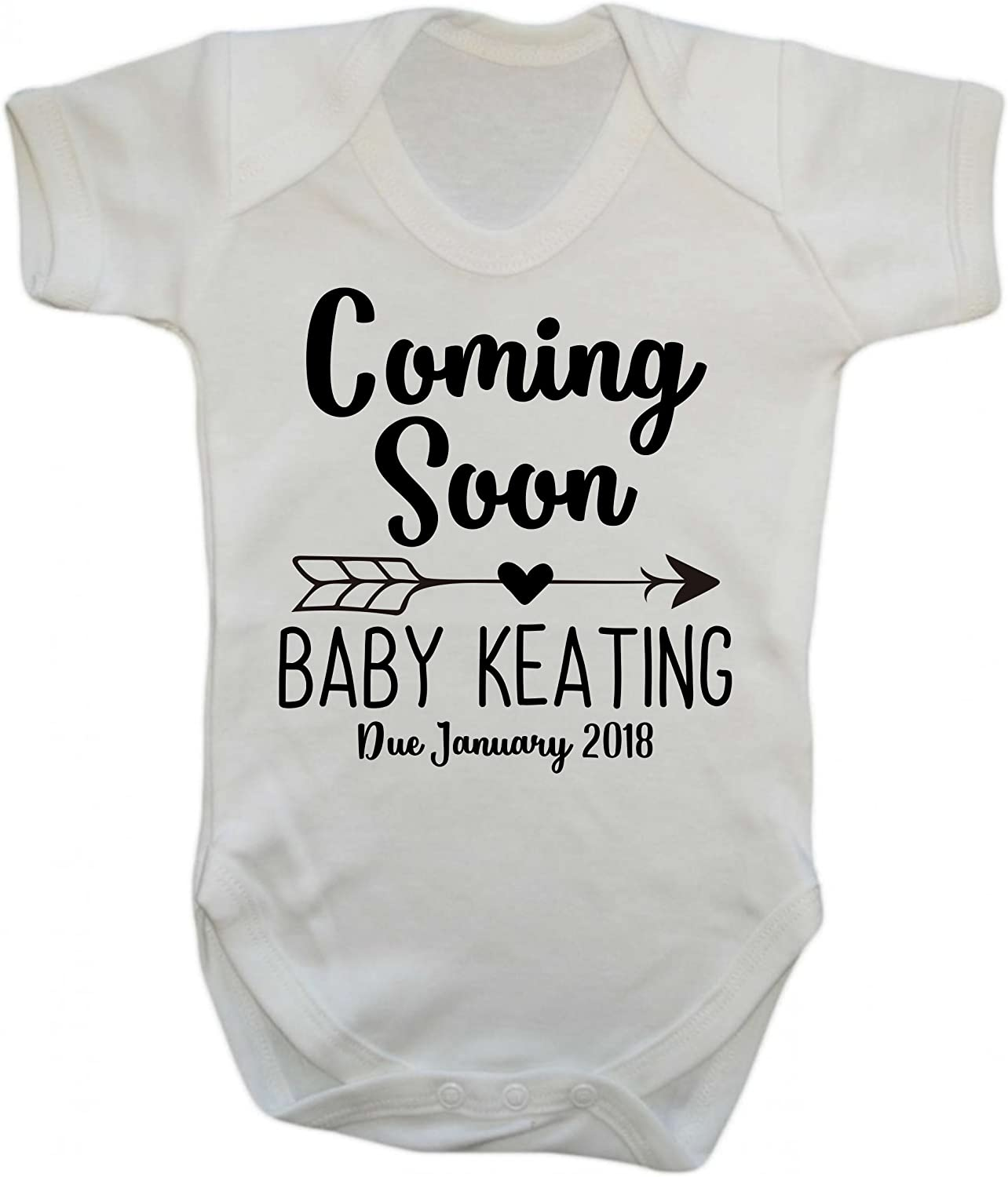 Pregnancy Announcement Personalised Name and Date Heart Baby Grow Vest BodySuit