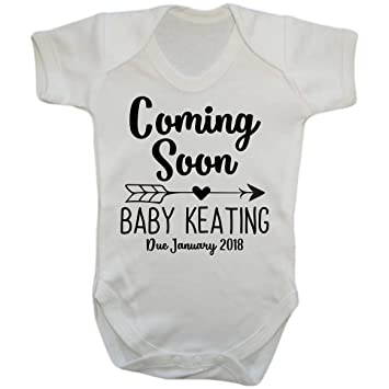 Birth announcement idea coming soon personalised baby birth announcement idea coming soon personalised baby announcement pregnancy gift baby vest negle Images
