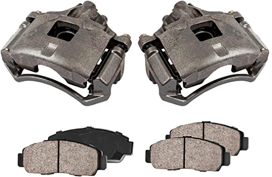 Low Dust Ceramic Brake Pads FRONT Performance Loaded Powder Coated Red Remanufactured Caliper Assembly 2 CCK12217
