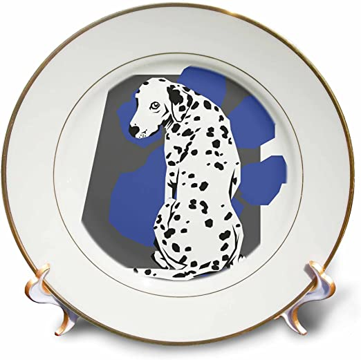 3dRose cp/_129114/_1 Cute and Cuddly Canine Sitting Dalmatian Porcelain Plate 8-Inch