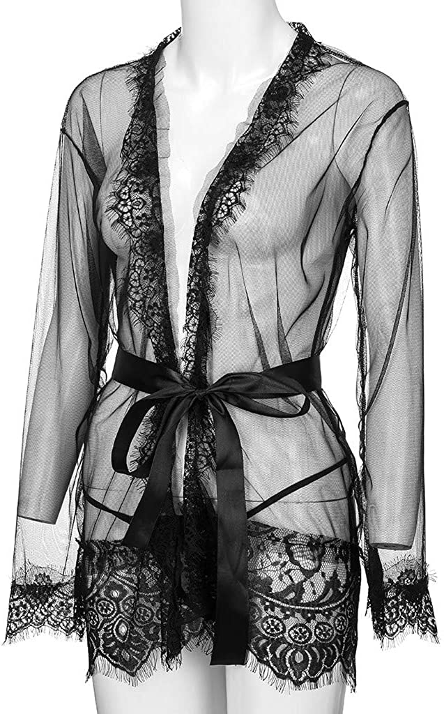 Bohelly Selling Womens Kimono Robe Lace Babydoll Bridal Lingerie Sheer Mesh Nightgown