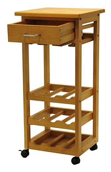 Winsome Wood Wine Cart With Drawer, Light Oak