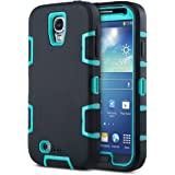 Galaxy S4 Case ULAK Hybrid Dual-Layer Shockproof Silicone Rubber Soft Skin PC Front Frame Hard Back Cover Heavy Duty Dustproof Combo Phone Case Cover for Samsung Galaxy S4 IV i9500 Aqua Blue Black