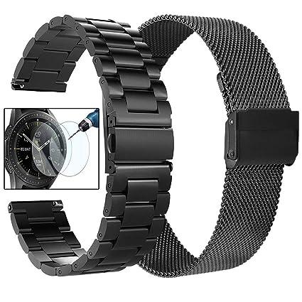 Koreda Compatible Galaxy Watch (42mm)/Gear Sport Bands, 20mm Stainless Steel Metal Band + Mesh Loop Replacement Bracelet Strap Compatible Galaxy Watch ...