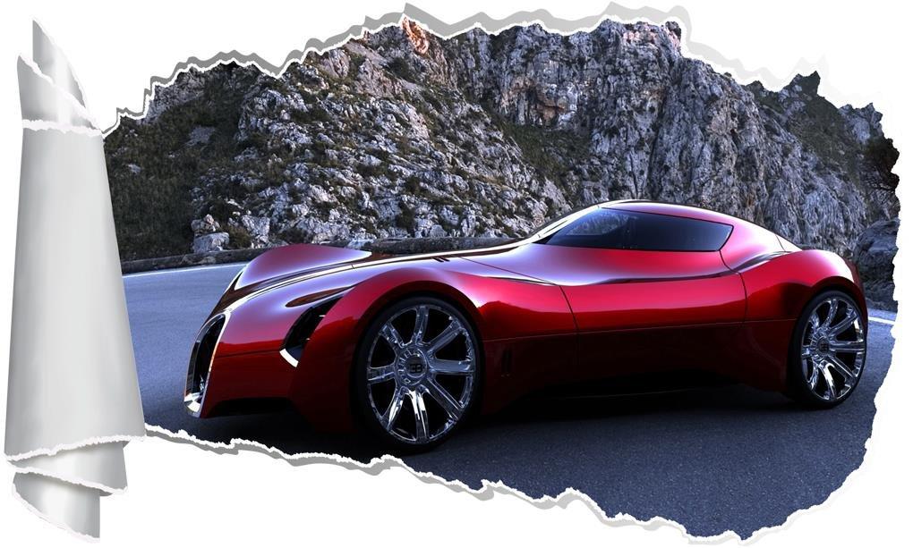Bugatti 3D Torn Hole Ripped Wall Sticker Decal Decor Art Luxury Race Car WT354, Huge