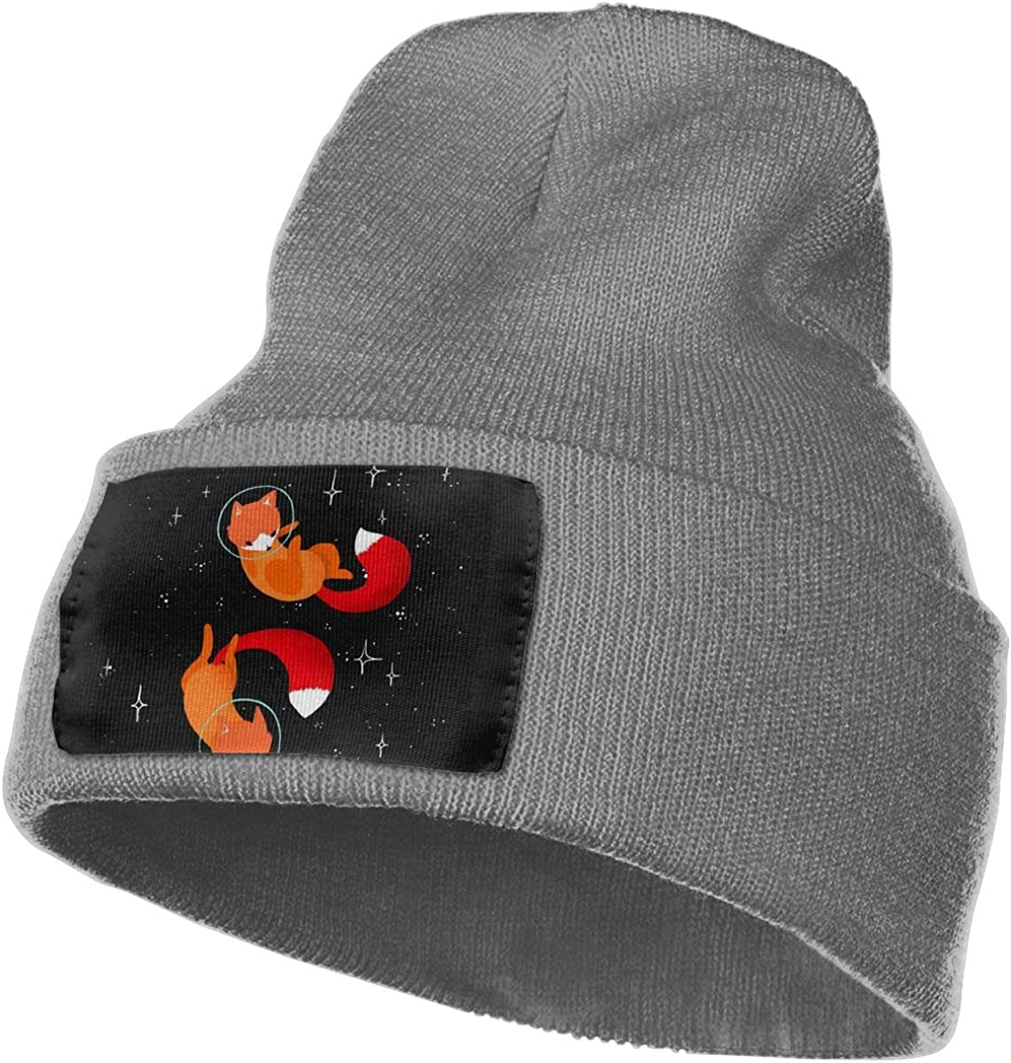 Fox in Space Winter Warm Hats,Knit Slouchy Thick Skull Cap Black