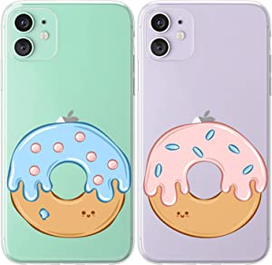 Mertak TPU Couple Cases Compatible with iPhone 12 Pro Max Mini 11 SE Xs Xr 8 Plus 7 6s Best Friend Donuts Sweet Silicone BFFs Pastel Matching Cute Flexible Doughnut Boyfriend Glazed Anniversary Food