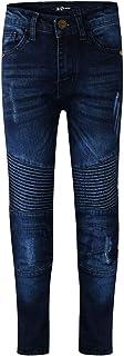 Kids Boys Stretchy Jeans Dark Blue Ripped Drape Panel Denim Pants Trouser 5-13Yr