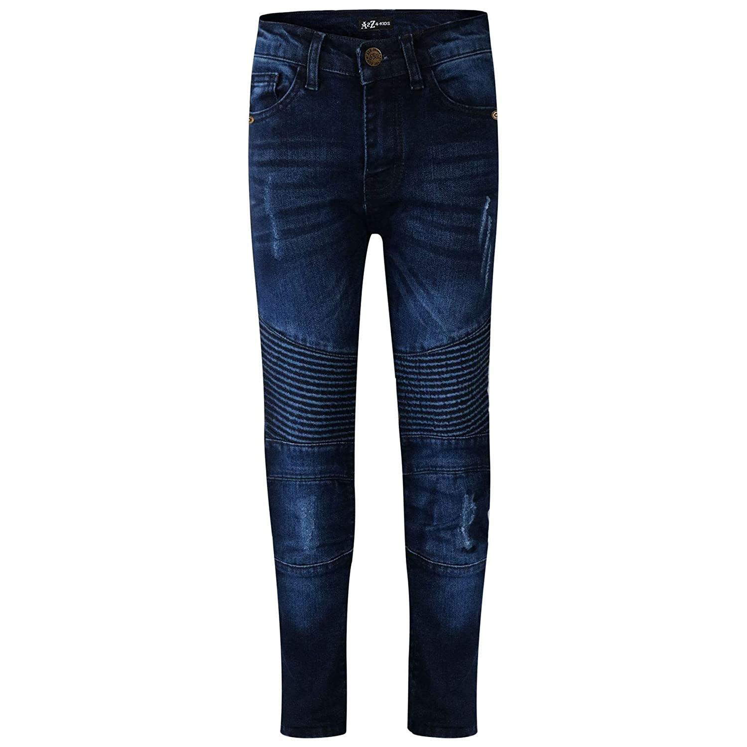 A2Z 4 Kids® Kids Boys Stretchy Jeans Designer's Dark Blue Ripped Knee Drape Panel Denim Pants Fashion Slim Fit Trousers New Age 5 6 7 8 9 10 11 12 13 Years