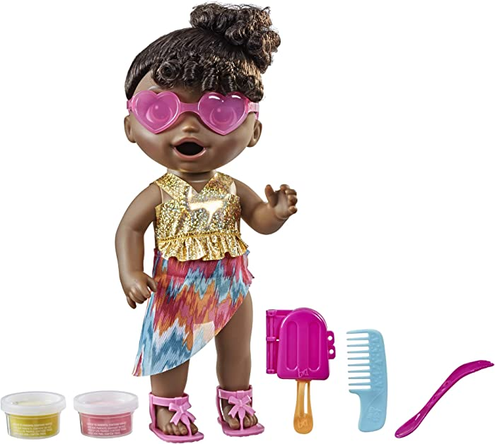 Baby Alive Sunshine Snacks Doll, Eats and Poops, Summer-Themed Waterplay Baby Doll, Ice Pop Mold, Toy for Kids Ages 3 and Up, Black Hair